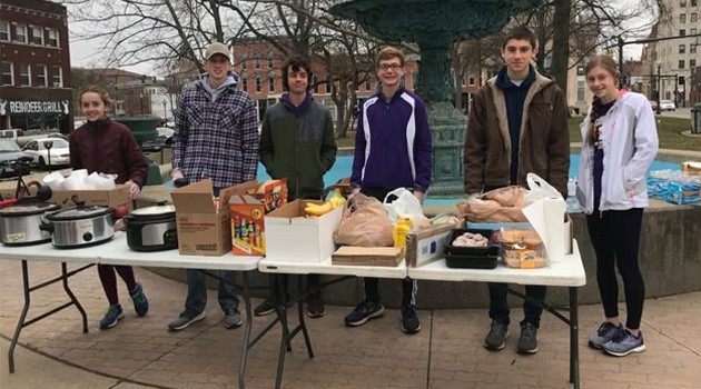 Lexington Track Team Helps Serve Lunch Downtown
